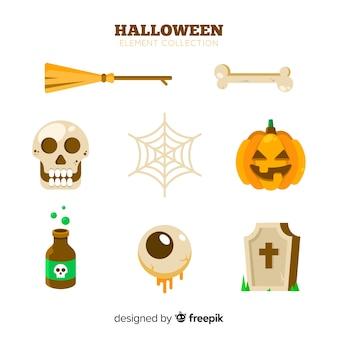 Klassieke hand getekend halloween element collectie