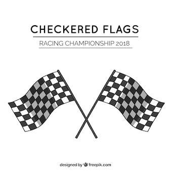 Klassieke hand getrokken geruite vlaggen