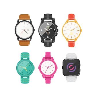 Klassieke heren- en dameshorloges set van pictogrammen. kijk uit voor de collectie zakenmannen, smartwatches en modeklokken.