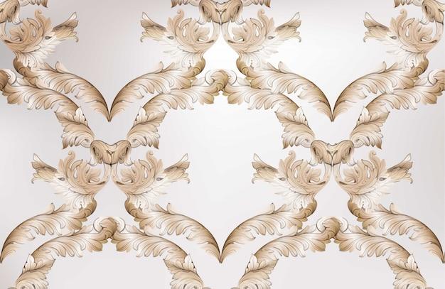 Klassieke het patroon glanzende achtergrond van het damast. ornament decor voor uitnodiging, bruiloft, wenskaarten. vector illustraties