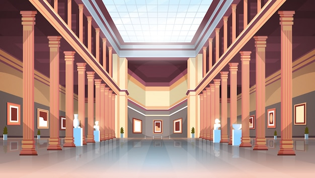 Klassieke historische museum kunstgalerij hal met kolommen en glazen plafond interieur oude exposities en sculpturen collectie plat horizontaal