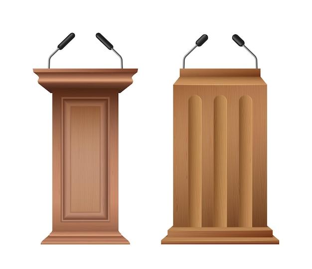 Klassieke houten preekstoel, podium of tribune set. rostrum-luidsprekerstandaard met microfoon voor conferentiedebatten. sokkel interviewen. realistische 3d-vectorillustratie