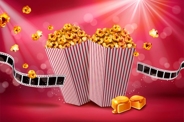 Klassieke karamel popcorn banner met filmrol op bokeh rode achtergrond, 3d illustratie
