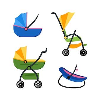 Klassieke kinderwagen ingesteld op platte ontwerpstijl
