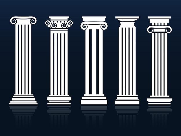 Klassieke kolommen op blauw