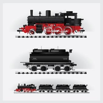 Klassieke ladingstrein op een spoorweg vectorillustratie