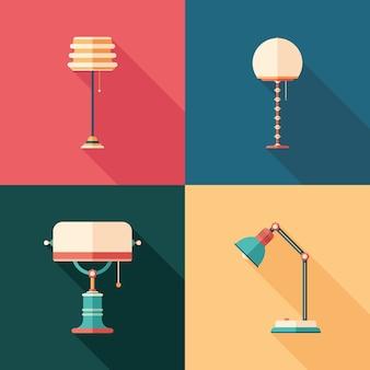 Klassieke lampen platte vierkante pictogrammen met lange schaduwen.