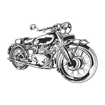 Klassieke motorfiets illustratie