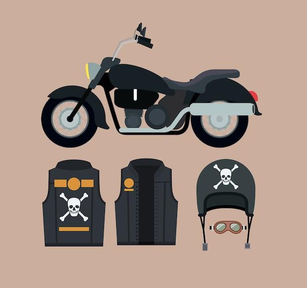 Klassieke motorfiets set