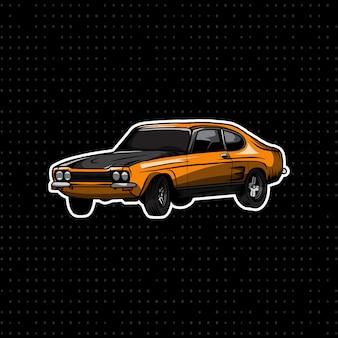 Klassieke muscle car geel en zwart