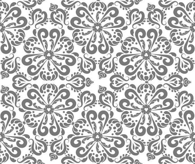 Klassieke naadloze vector patroon damast oriënteren ornament klassieke vintage achtergrond grijs en wit