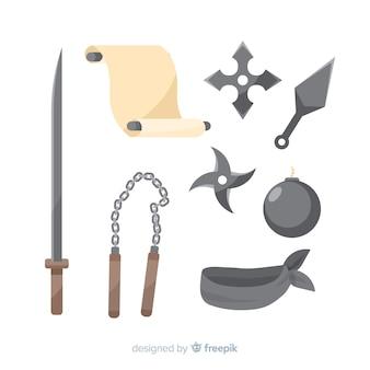 Klassieke ninja-compositie met plat ontwerp