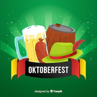Klassieke oktoberfest-compositie met plat ontwerp