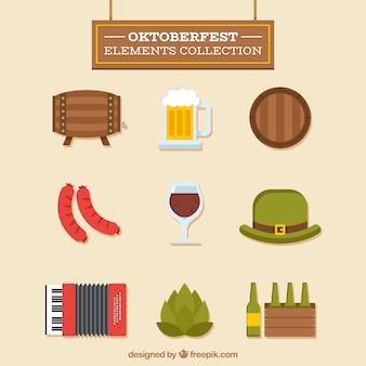 Klassieke oktoberfest elementencollectie met plat ontwerp
