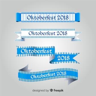 Klassieke oktoberfestlintcollectie met plat ontwerp