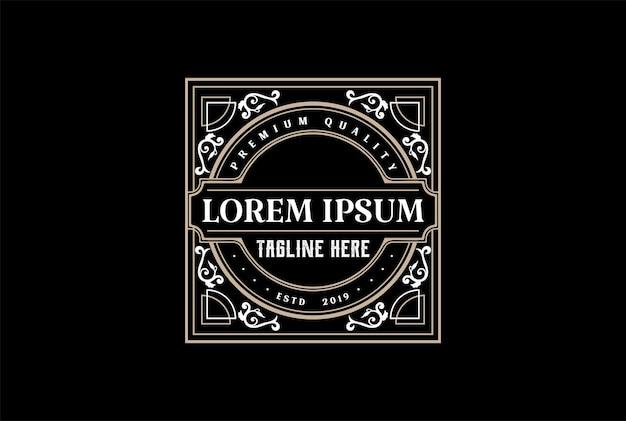 Klassieke oude retro vintage luxe gouden rand label logo ontwerp vector