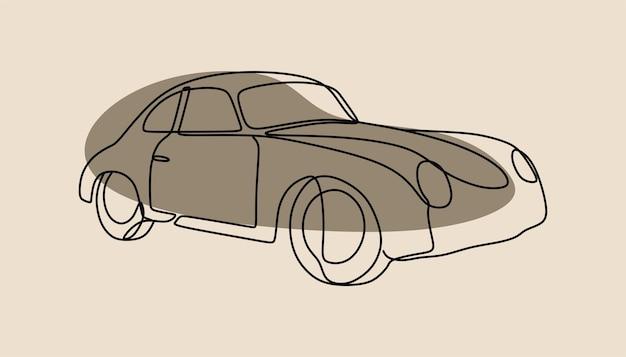 Klassieke retro auto oneline doorlopende lijntekeningen