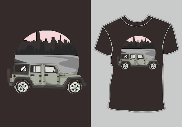 Klassieke, retro, vintage auto aan de rand van de stad, t-shirt afbeelding