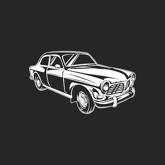 Klassieke retro zwart-wit auto op donker