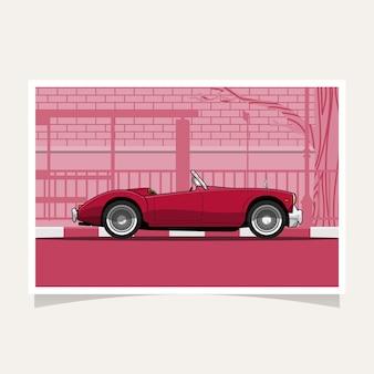 Klassieke rode auto conceptuele vlakke de illustratievector van het ontwerp