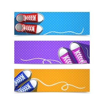 Klassieke rubberen gumshoes hipster accessoires horizontale banner set