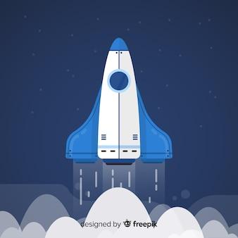 Klassieke ruimteraket met plat ontwerp