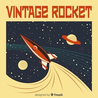 Klassieke ruimteraketsamenstelling met vintage stijl