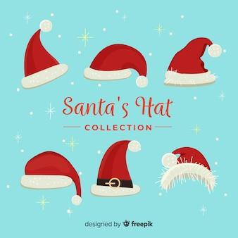Klassieke santa's hoedencollectie met plat ontwerp