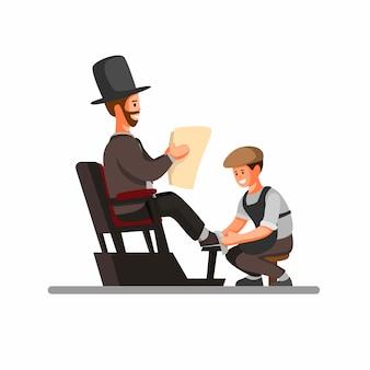 Klassieke schoenenpoetsdienst voor heren. schoen reparatie en pools baan traditioneel symbool in cartoon afbeelding op een witte achtergrond