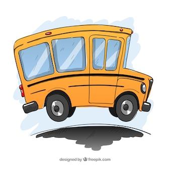 Klassieke schoolbus met hand getrokken stijl