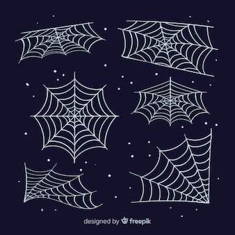Klassieke set van halloween spinnenwebben