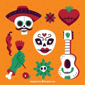 Klassieke set van mexicaanse elementen