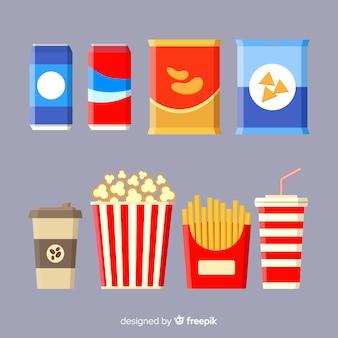 Klassieke snackcollectie met plat ontwerp