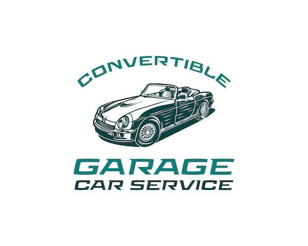 Klassieke sportwagen retro auto vintage auto cabrio auto service logo ontwerp vectorillustratie
