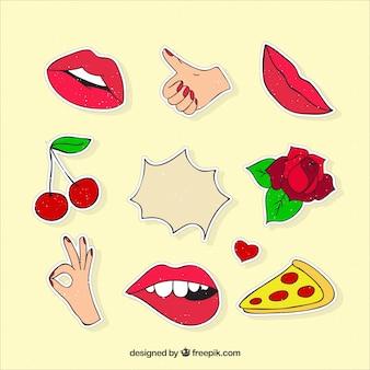 Klassieke stickers met kleurrijke stijl
