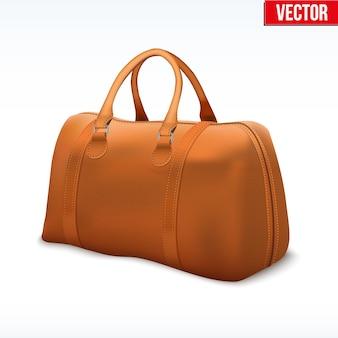 Klassieke stijlvolle leren tas met handvat. modeaccessoire. illustratie op witte achtergrond.