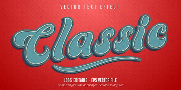 Klassieke tekst, bewerkbaar teksteffect in vintage stijl