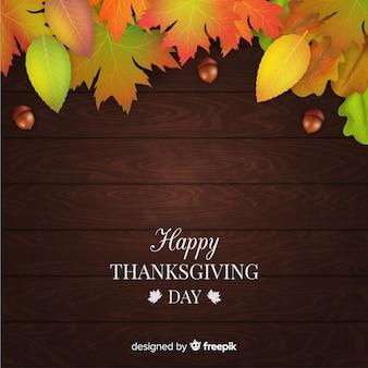Klassieke thanksgiving dayachtergrond met realistisch ontwerp