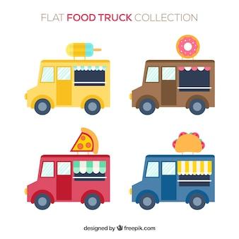 Klassieke verzameling van platte voedselwagens