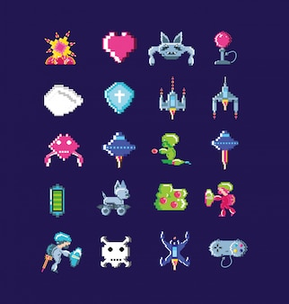 Klassieke video game set pictogrammen