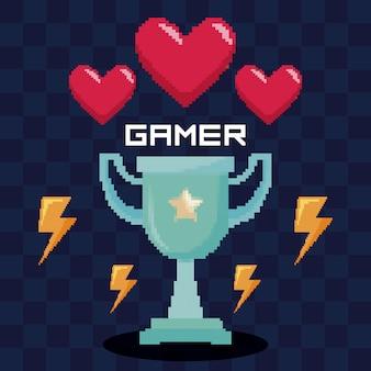 Klassieke videogame-trofee en harten