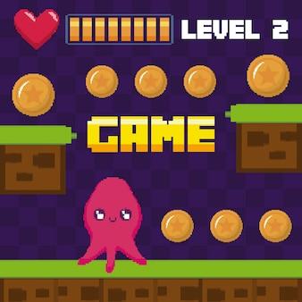 Klassieke videogamescène met het karakter van de octopusmutant