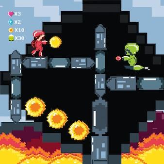 Klassieke videogamescène met krijger en vlam
