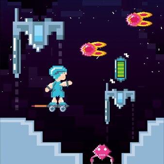 Klassieke videogamescène met krijger