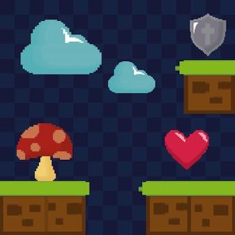 Klassieke videogamescène met schimmel