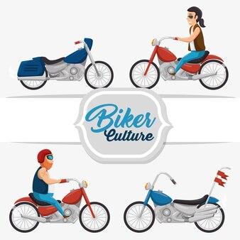 Klassieke vintage motorfietsfietser