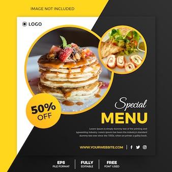 Klassieke voedsel vierkante flyer of instagram postsjabloon
