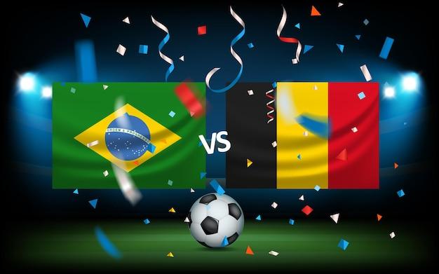 Klassieke voetbal die naar het net vliegt. voetbalwedstrijd concept. brazilië versus belgië