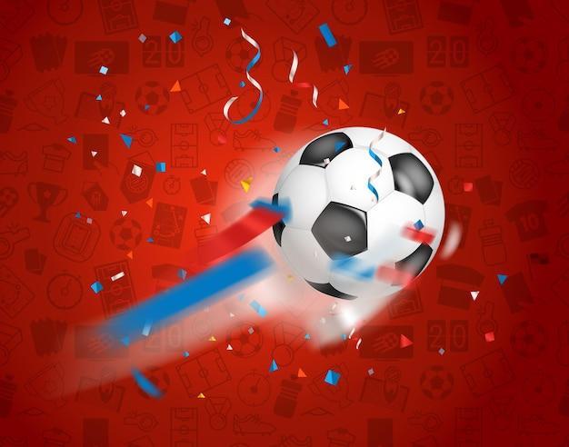 Klassieke voetbal die naar het net vliegt. voetbalwedstrijd winnaar concept