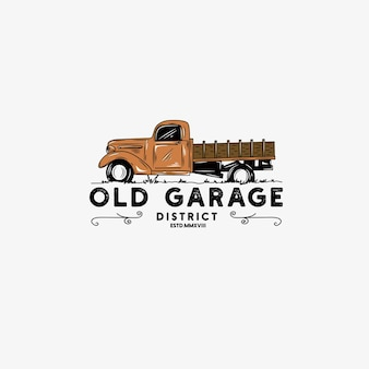 Klassieke vrachtwagen auto vector etiketten emblemen en badges instellen retro voertuig oude auto transportatio
